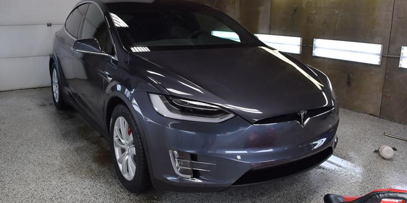 Grey Tesla getting clear bra