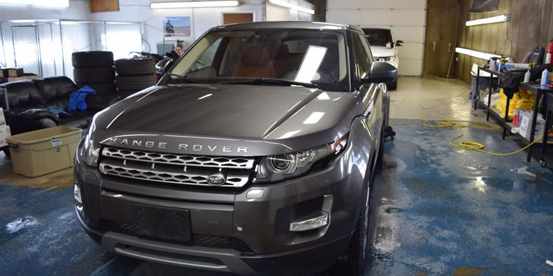 Silver Range Rover getting clear bra