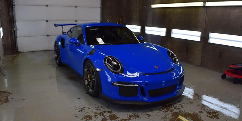 Voodoo Blue Porsche getting clear bra