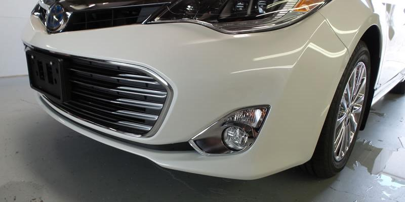 White Toyota Camry receiving clear bra