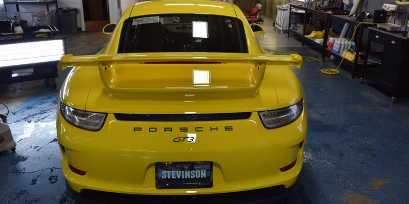 Yellow Porsche rear bumper clear bra